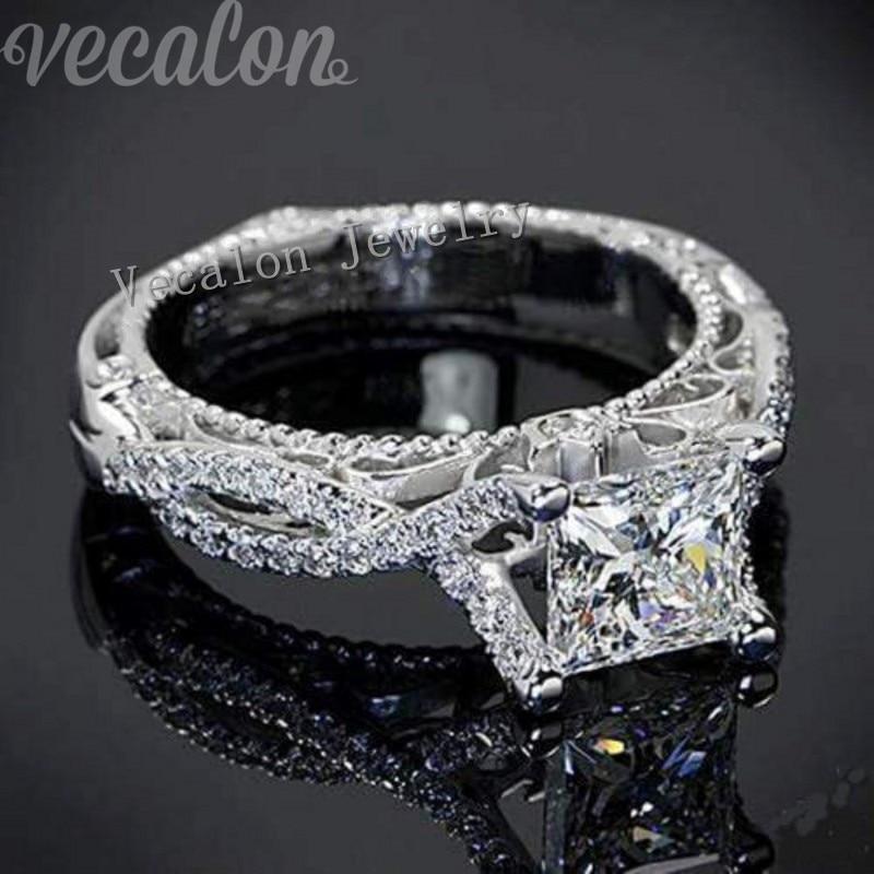 Vecalon 2016 Romantique Antique Femelle anneau 2ct AAAAA Zircon Cz 925 En Argent Sterling Engagement Band anneau de mariage pour les femmes