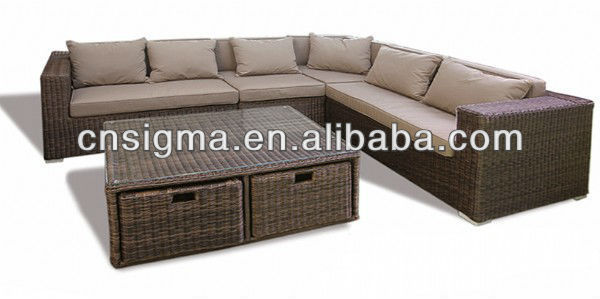 2017 New Products All Weather Modern Wicker Sectional Patio Lounge Sofa Set