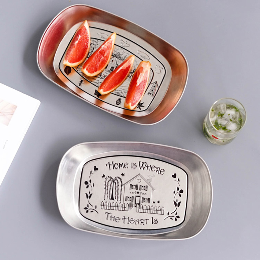 Durable Metal Storage Tray Snack Dried Fruit Storage Organizer Dessert Food Plate Rectangle Rolling Trays Decorative Dish Tray