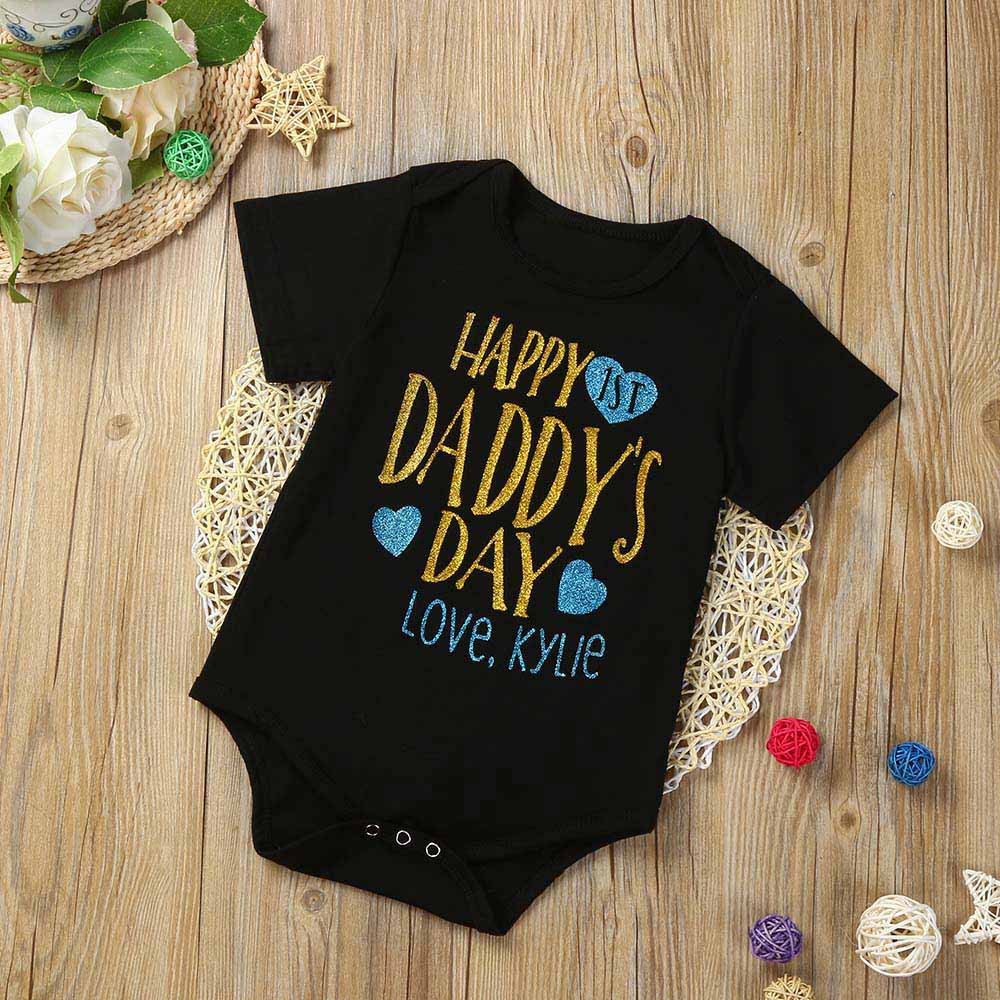 KLV Infant Kids Baby Girl Fathers Day Letter Print Romper Jumpsuit Clothes