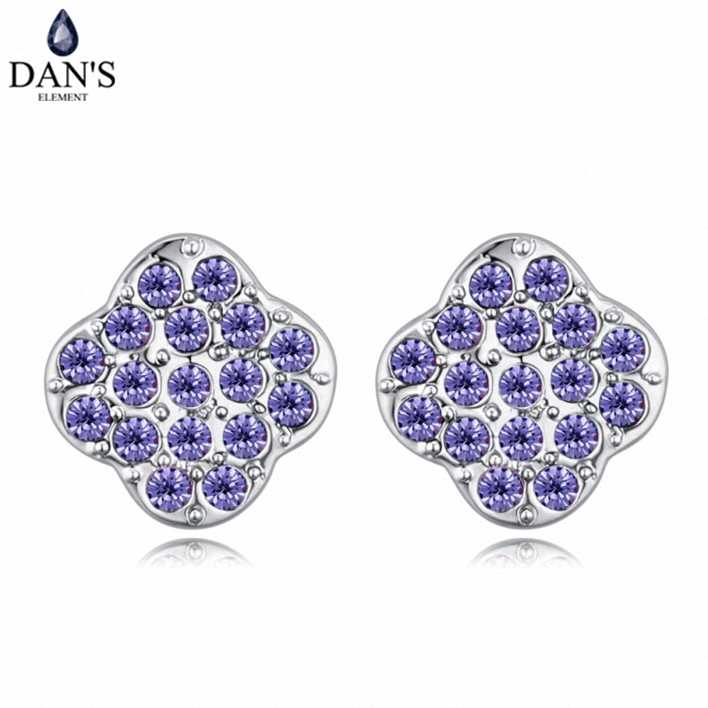 DANS 6 Colors Real Austrian crystals Stud earrings for women Earrings s New Sale Hot Round 128949