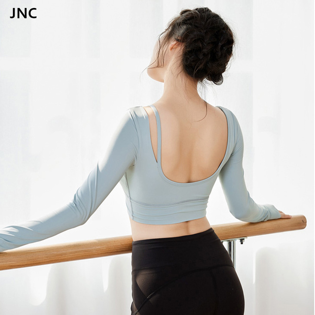 6273573b3d4ae JNC long sleeve women yoga top open back sexy gym crop top with thumb hole  fitness athletic yoga shirts breathable sweatshirt