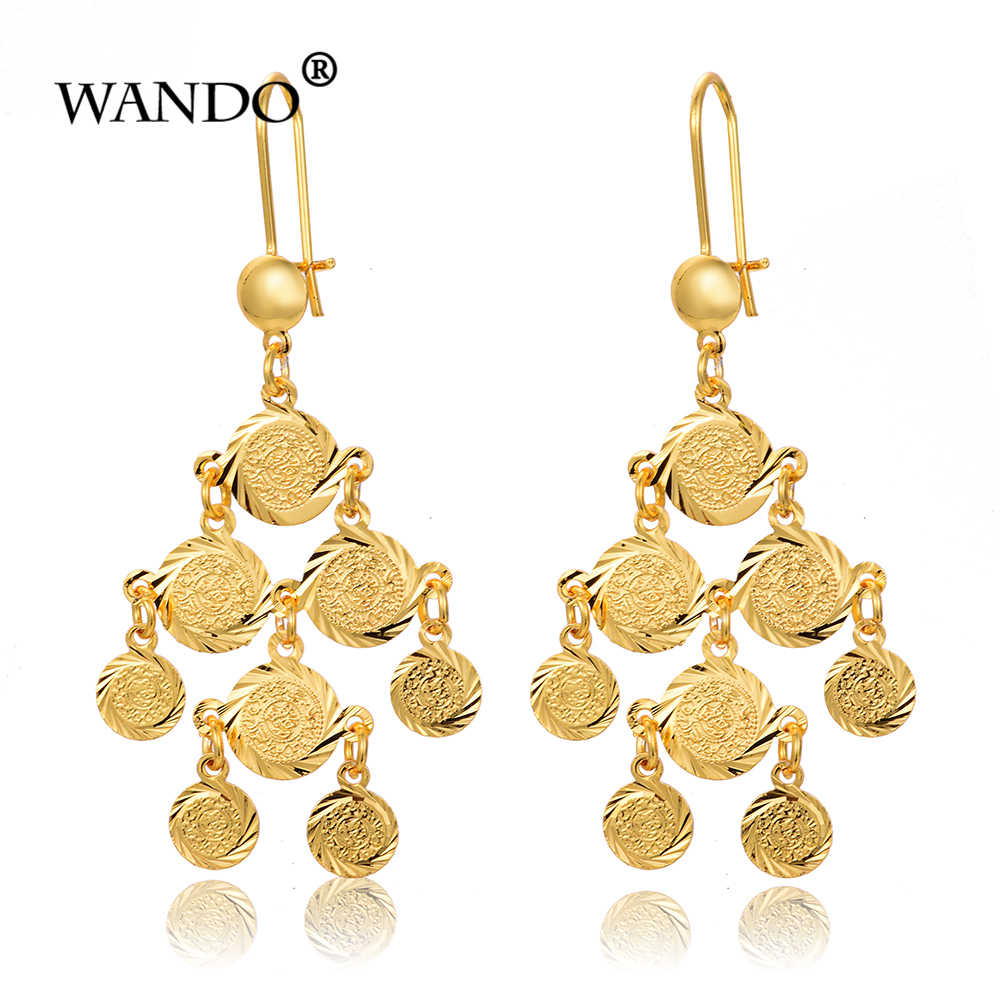 WANDO Newest Coin Earrings Girls Women Gold Color Arab Muslim Islamic Ethiopian Jewelry Old Coins bride Gifts Long earings E69