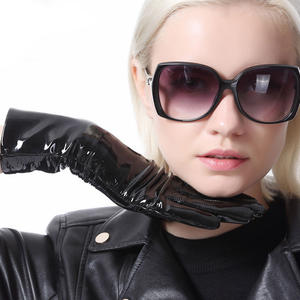 women fashion mid length real patent leather shiny everyday warm gloves in black