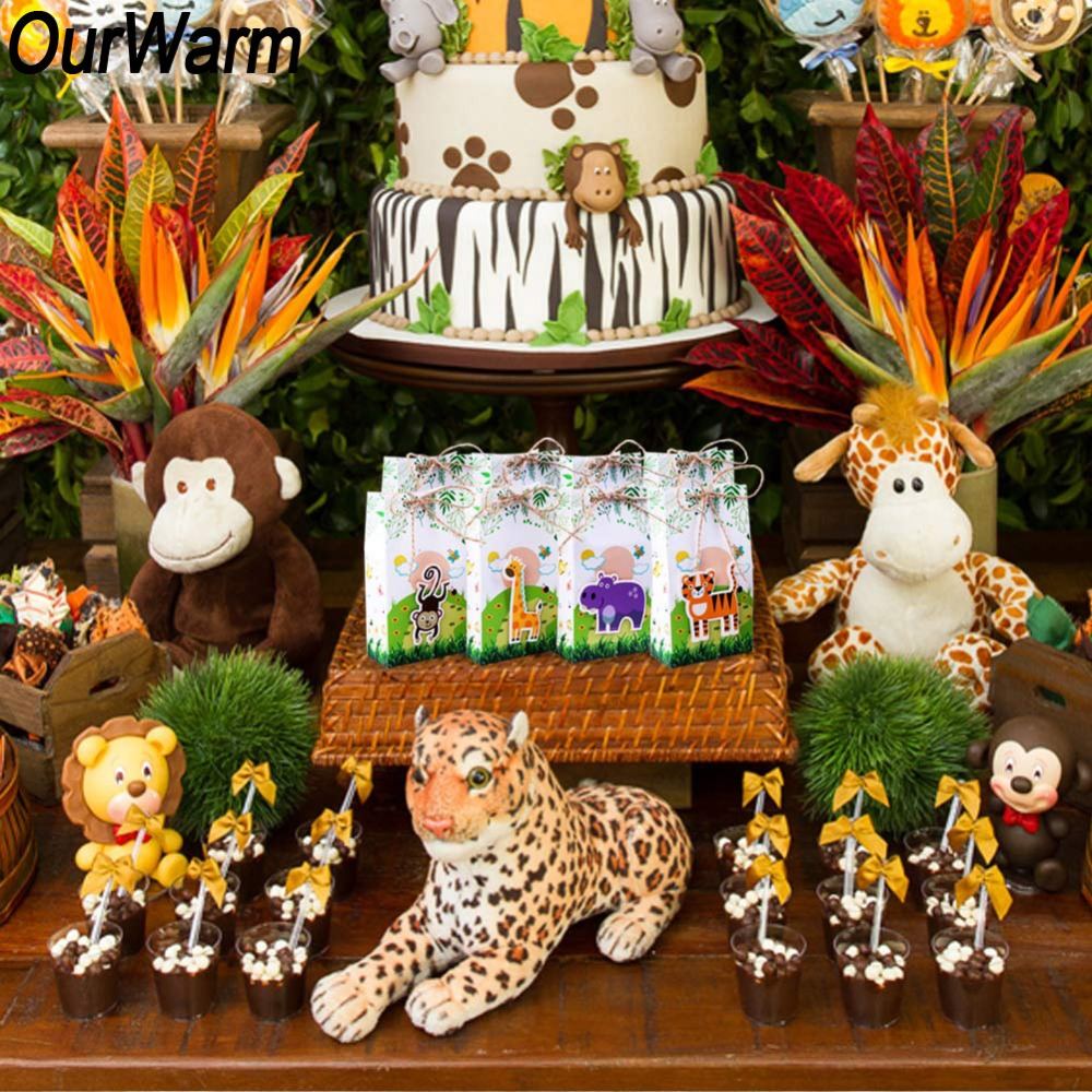 OurWarm Jungle Party Supplies Animal Balloons Tropical Palm Leaves Happy Birthday Banner Safari Birthday Party Decorations Kids