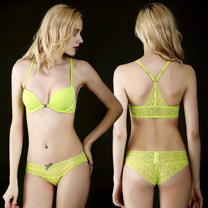 New 2017 Luxury Sexy Lace Bra brief sets Underwear New Y shape Front Closure Bra With