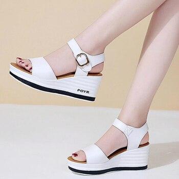 Women's Leather Sponge Sandals