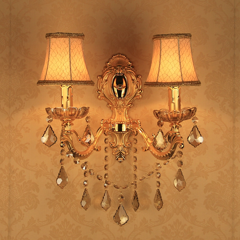 ФОТО 2016 new European style double crystal E14 3 style candle lamp wall lamp golden