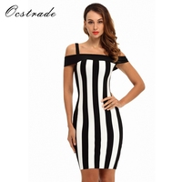 Ocstrade New Arrival 2017 Black And White Dress For Women Striped Sexy Off Shoulder Bandage Dress