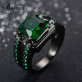 Bamos Male Green Oval Ring High Quality Fashion Black Gold Filled Jewelry Vintage Wedding Rings For Men 2017 New Year Gifts