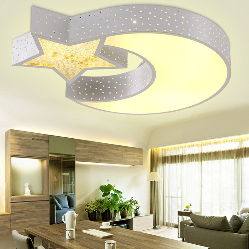 Creative moon star lampshade ceiling light, 85-265V 24W led child baby bedroom decoration lamp, foyer lighting fixtures