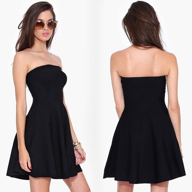 European Style Women Fashion Black Short Style Strapless Dress