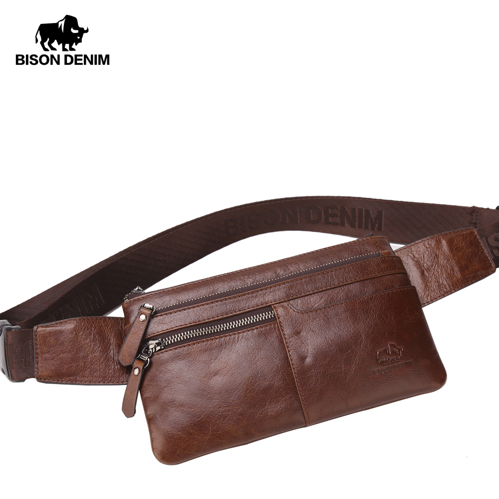 BISON DENIM Leather Waist Pack Genuine Leather Waist bag Ipad Mini Cowhide waist pack bag money belt waist pouch Men Bag W2443