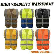 ANSI 107 2010 ENISO 20471 safety reflective waistcoat working vests with reflective tape polyester fluorescent fabric