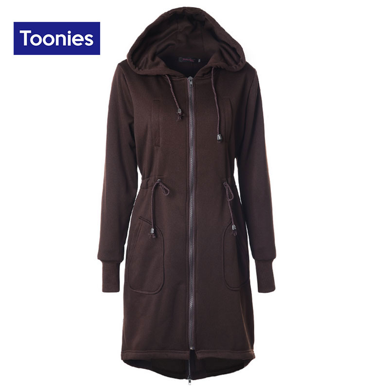 2017 Winter Casual Loose Long Hoodies Straight Drawstring Waist Overcoat Hooded Jackets Cotton Thick Plus Size