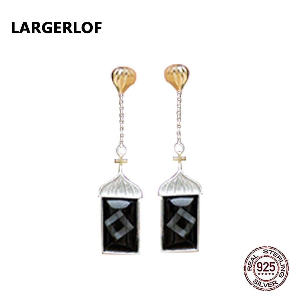 LARGERLOF Real 925 Sterling Silver Earrings For Women Minimalist Jewelry Handmade Fine Jewerly Geometric ED49059