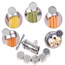 Manual stainless steel pasta machine pressing noodle machine crank cutting machine fruit juicer cookware stainless steel kitchen pasta noodle press machine vegetable fruit juicer handle noodle making machine with 5 noodle molds fen