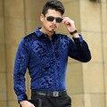 La Nueva Primavera 2017 Camisa de Los Hombres de Alta Calidad de Impresión de algodón de manga larga camisa de Solapa Delgada de la Solapa de Impresión de la Camiseta S-3XL MK486