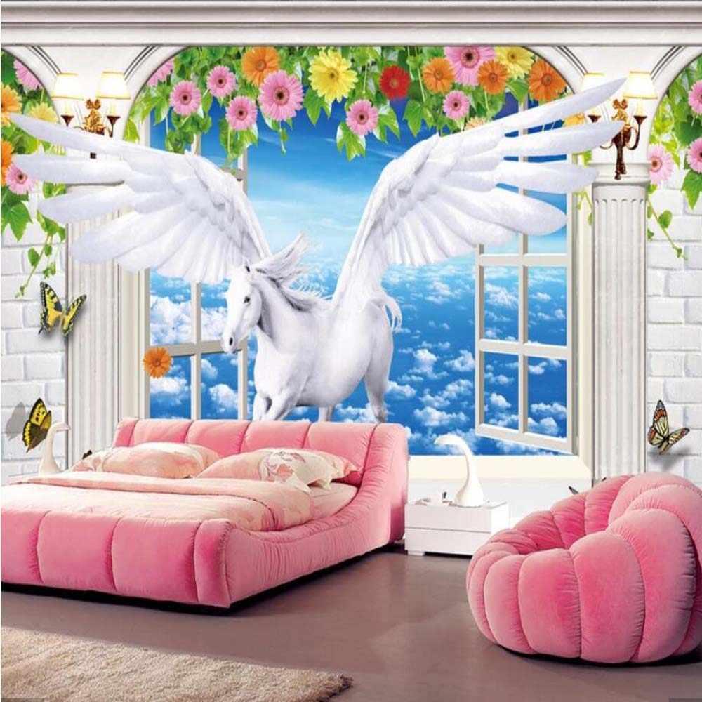 3D Window Stereo Putih Flying Horse Wallpaper Dinding Mural Wallpaper Mural Kamar Tidur HD Dicetak Hewan Bunga Dinding Kertas Roll