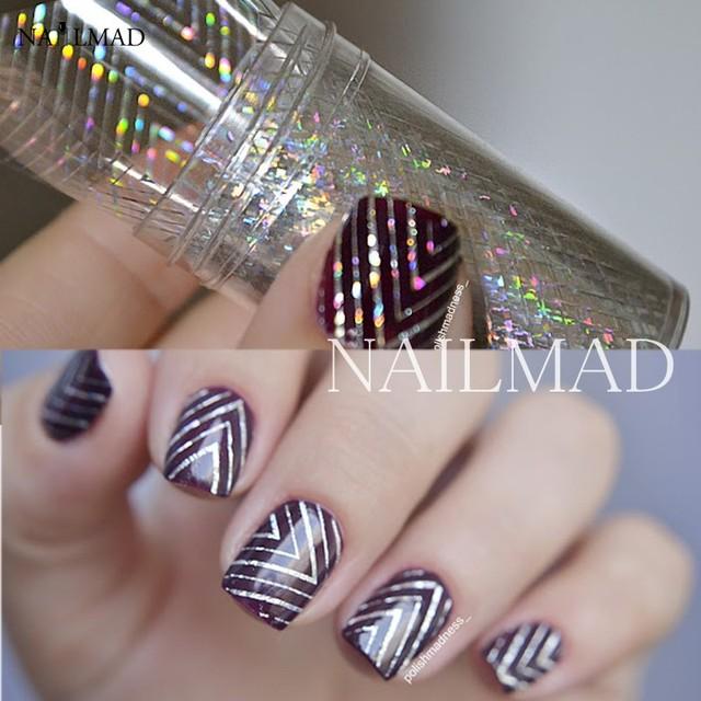 1 roll 4*100cm Holographic Nail Foils Holo Waves Nail Foils Nail Art ...