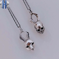Original Silver Jewelry Double sided Rabbit Pendant Personality Bunny Necklace Pendant 925 Silver Necklace
