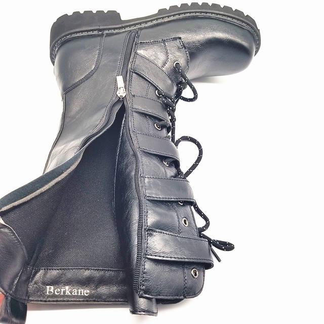 Armee Stiefel Männer Military Leder Kampf Metall Schnalle Männlichen Motorrad Punk Stiefel männer Schuhe Rock Zapatillas Deprtivas Hombre