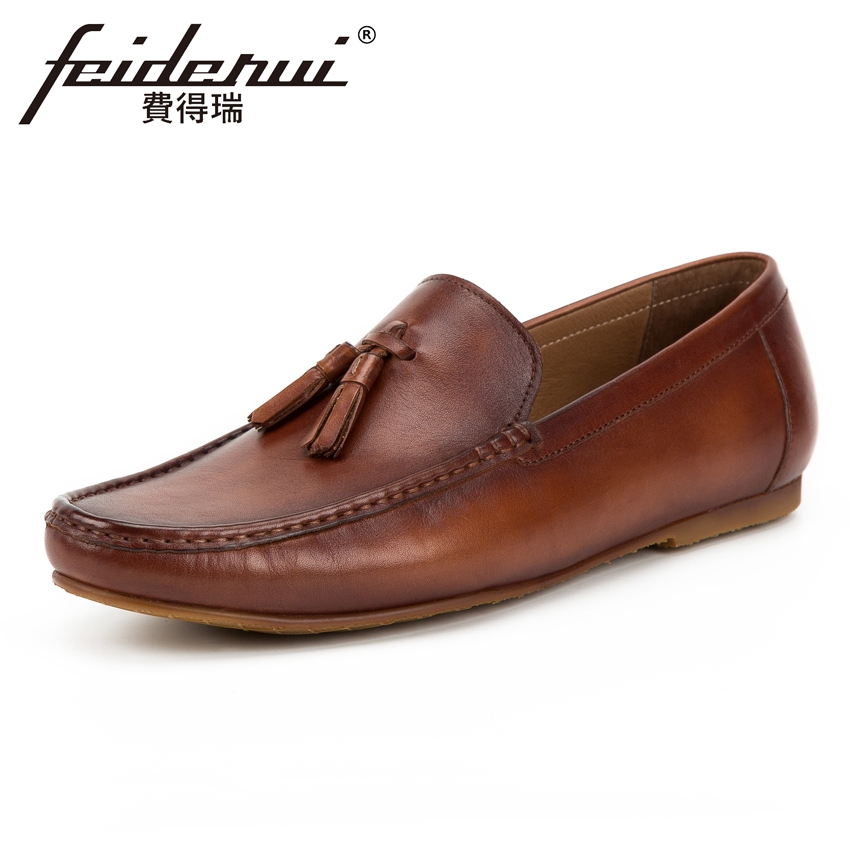 New Arrival Genuine Leather Flat Men's Comfortable Moccasin Loafers Round Toe Slip on Handmade Man Driving Casual Shoes KUD113