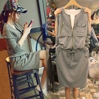 2017 Autumn Fashion Round Neck Medium Length Long Sleeved Dress Leisure Drawstring Waist Sports Skirt Woman