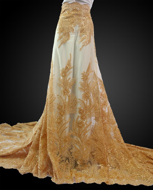 5 หลา superior Gold neat เย็บปักถักร้อยแอฟริกันลูกไม้ฝรั่งเศสผ้าไนจีเรียฉลองเสื้อผ้าผ้า sequins คุณจะชอบ-ใน ลูกไม้ จาก บ้านและสวน บน   1