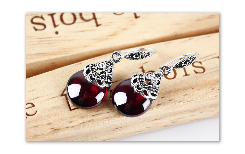 HTB1H3PgeAfb uJkHFJHq6z4vFXao - JIASHUNTAI Retro 100% 925 Sterling Silver Round Garnet Drop Earrings For Women Natural Red Gemstone Ruby Fine Jewelry Best Gifts