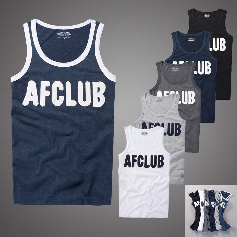 Tank     top   men 100% cotton summer embroidery fitness bodybuilding tanktop af   tops