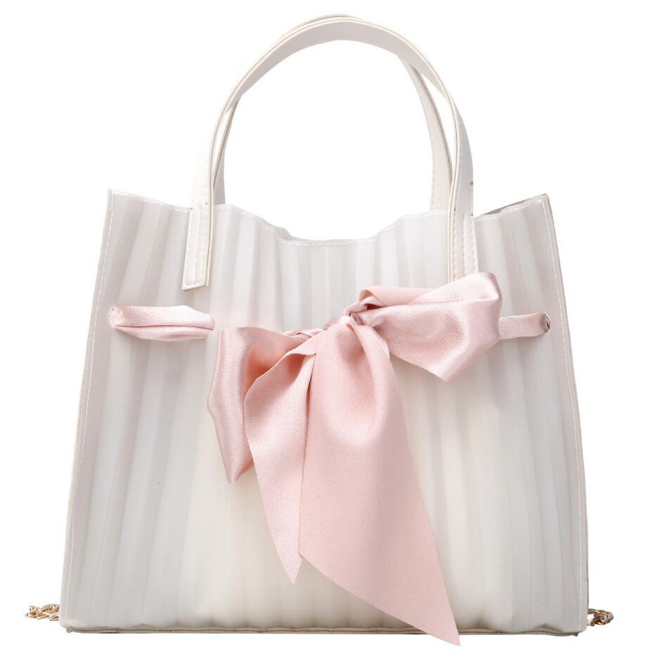 Transparent Jelly Big bag 2019 Summer New Quality Women's Designer Handbag Cute Big Bow Tote bag Chain Shoulder Messenger bag