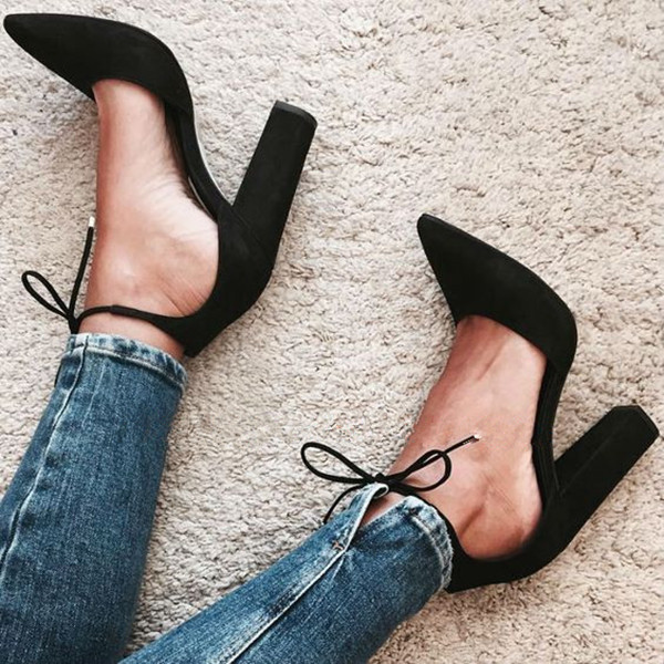 beautiful Chaussure Femme High Heels Women Lace Up Suede Pumps Chunky Heel Pointed Toe Dress Shoes 2017 Spring Summer Shoes Woma peacock crystals slingbacks 8cm chunky heels open toe summer shoe sandals chaussure femme de marque chaussure femme talon ouvert