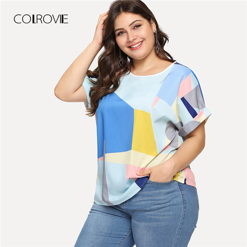 COLROVIE Plus Size Patchwork Roll Up Sleeve Blouse Shirt 2018 New Summer Multicolor Feminine Blouse Casual Women Tops