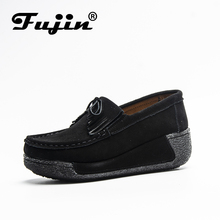 Fujin Brand Suede Leather Platform Flat Shoes for Women Loafers Creeper Tassel Slip on Spring Autumn Lady Flock Moccasins Winter