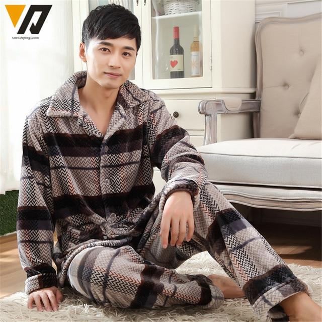 Soft Flannel Set Men Nightwear Winter Long-sleeve Set Pajamas Male Lounge Casual Sleepwear Plus Size