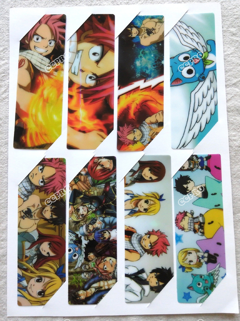 8pcs/set PVC Anime Bookmarks printed with Anime FAIRY TAIL Natsu