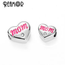 Reamor On Sale 2 Size 316l Stainless Steel Heart Beads Text Mom Metal Charms Beads For Bracelet DIY Jewelry Making Mother Gift(China)