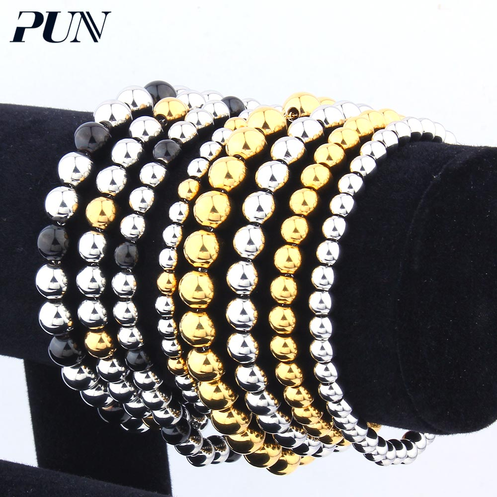 PUN 2018 men's female beads bracelet bangles charm hand chain link for women male stainless steel bracelet silver black gold