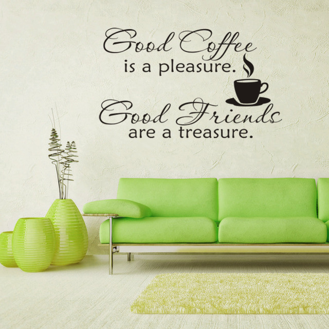 good friends coffee wall decals quotes letters words home bar ...