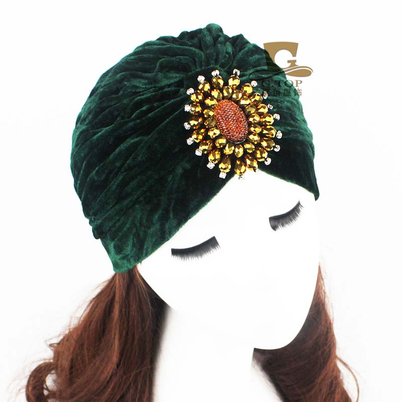 Women Jewel Accessory luxury beads dimond jeweled Soft Velvet Turban Headband Beanie Hat Turbante hair accessories