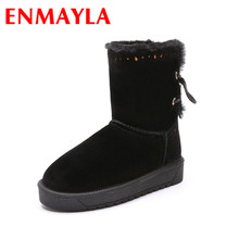 ENMAYLA New Hlaf Boots Shoes Woman Warm Winter Snow Boots Platform Shoes Mid-calf Boots Large Size 34-43 Round Toe Flats Shoes