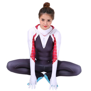 Image 4 - Spider Gwen Costume Stacy Cosplay Hoodie Mask Zentai Into the Spider Verse Adult Kids Bodysuit Skin Suit Halloween Cosplay