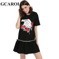 GCAROL 2017 Women Eagle Rose Printed Trumpet Dress Casual Oversize Dress Euro Style Black High Quality