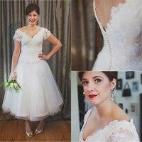 Vintage Ankle Length 50s Wedding Dresses Short Sleeve V Neck Lace Tulle A Line Short 2017