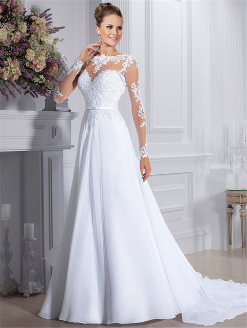 Elegant Long Sleeve Wedding Dress Lace A Line Chiffon Brush Train ...