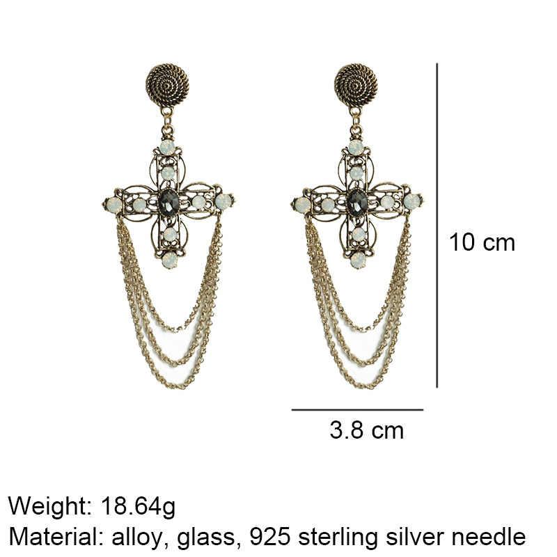 M & G Lange Kreuz Gothic Ohrringe Frauen Neue Schwarz Glas Erklärung Metall Quaste Ohrring Vintage-Schmuck 925 Steeling Silber nadel