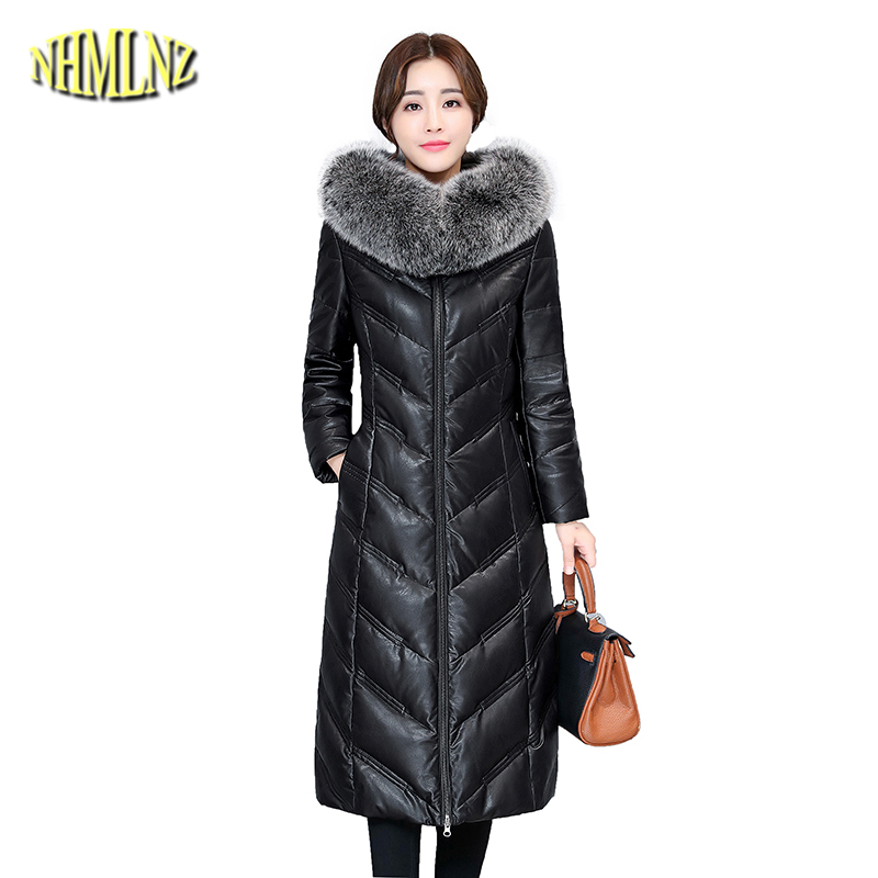 2019 New Winter Sheepskin   Down   Jacket Women Long sleeve Hooded   Coat   Large size 5XL Solid Slim White duck   Down     Coat   Female DAN366