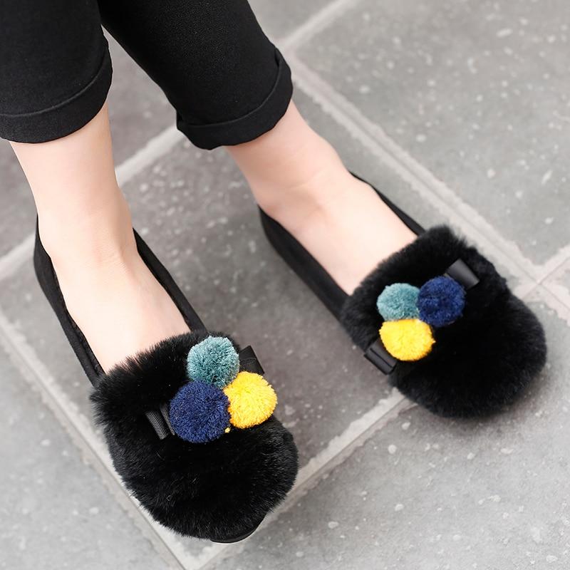 Mocassins Chaud Hiver Femme Poils Appartements black Chaussures Gray Casual Espadrilles Creepers Boules De Mocassin Coloré Pompon Plume Fourrure qvwZFgF