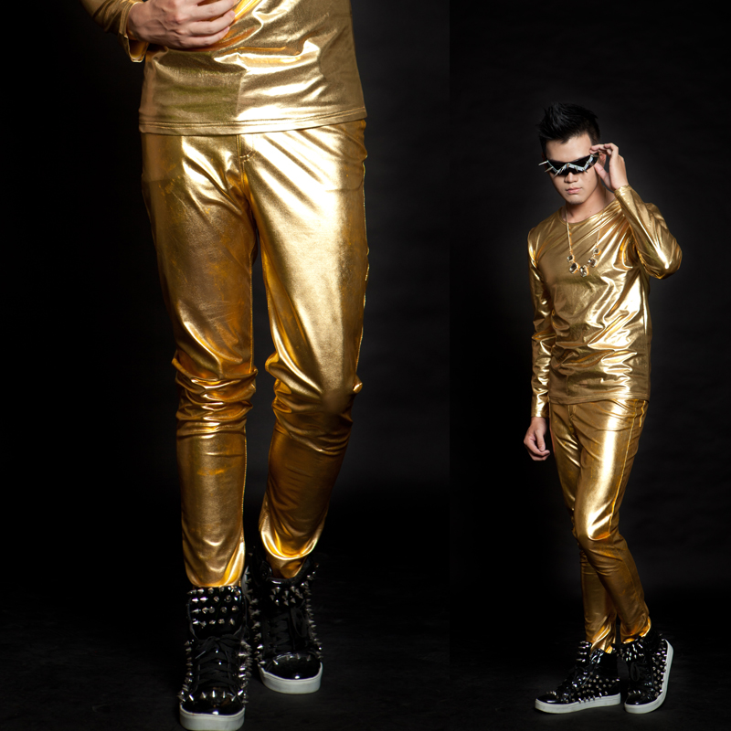 27-44 !!! 2018,Men's clothing costume male bling gold edition novelty fashion gold slim  Men's trousers   The singer's clothing